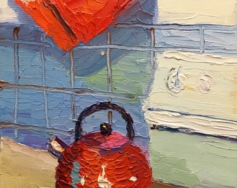 Kitchen Kettle Small Textured Oil Painting on Canvas