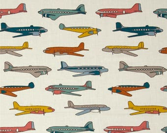 Retro Planes Multi From Birch Organic Fabric's Trans-Pacific Collection by Jay-Cyn Designs