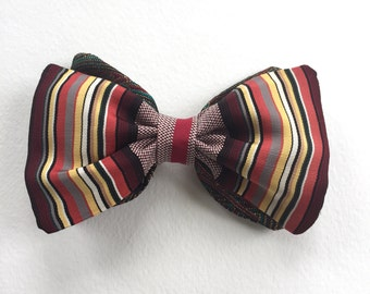 Vintage striped silk Bow tie, brown striped tie, gifts for him clip on bow tie, striped paisley bow tie, groomsmen tie, groom tie