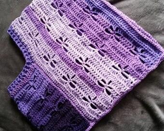 Dragonfly poncho - Shawl - Girls poncho - Handcrafted - Crocheted
