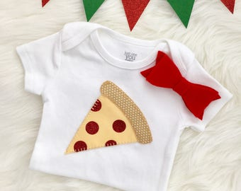 Pizza baby girl bodysuit/onesie, hand sewn appliqué- personalize with your baby's name!