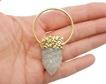 White Cactus Quartz with Electroplated 24k Gold Cap and Fancy Bail - Beautiful Pendant - ONE of a KIND (DB1-47)