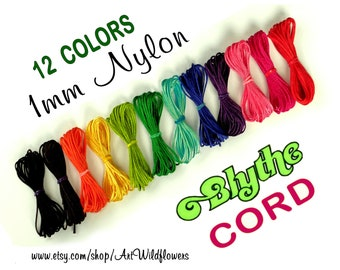 Blythe Doll Cord - 12 Color Set  Blythe Pullring Cord - 1mm Nylon Jewelry Cording for Making Custom Blythe Dolls & Blythe Pull String Repair