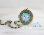 Girl on Feather Locket - Jewelry - Blue Locket - Turquoise Locket - Feather Locket - Gifts for Her - Art jewelry by Cut the Fish (20-1L)