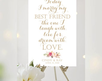 Welcome Poster   Today I Marry My Best Friend   Various Sizes   Vintage   Antique Gold Script   I Create and You Print