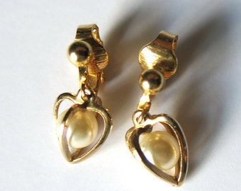 Earrings  with heart and pearl