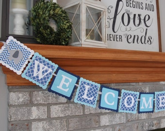 Welcome Baby Banner, Elephant Baby Shower Banner, Elephant Decorations, Elephant Party, Aqua, Navy White