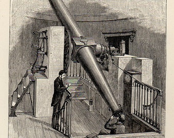 1886 Meridian Circle Telescope, Original Vintage Space Astronomy Print