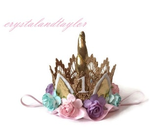 Unicorn Crown in Light Pink, Lavender and Aqua, Unicorn Birthday Crown, Flower Crown, Birthday Hat, Toddler Crown, Unicorn Horn