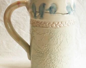 Blue birds ceramic coffee mug 20oz stoneware 20C038