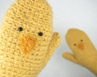 Baby Chicken Mittens / Gloves ~ Handmade ~ Poultry Fowl
