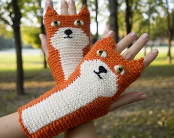 Fox Fingerless Gloves (Orange) ~ Handmade
