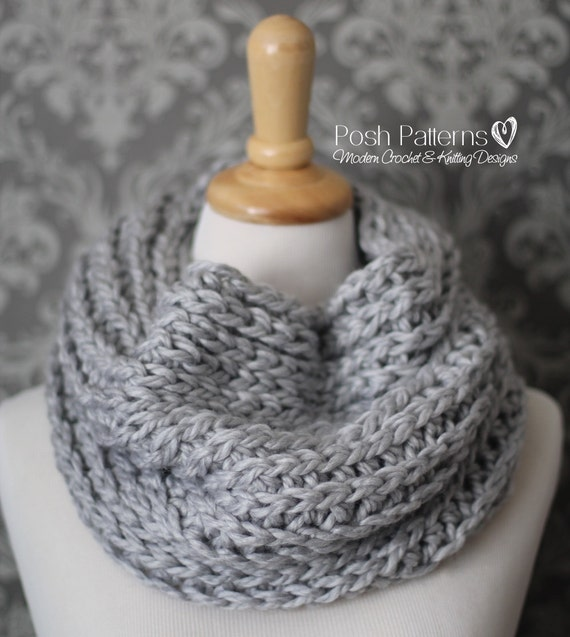 Crochet Pattern - Knit Look Crochet Cowl Pattern - Crochet Pattern Cowl - Infinity Scarf - Circle Scarf - Crochet Scarf Pattern - PDF 444