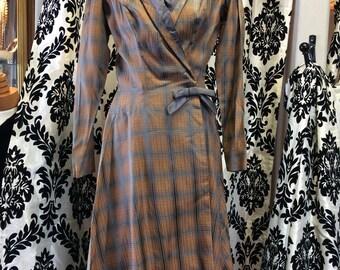 Stunning 40's Grey & Honey Plaid Dress