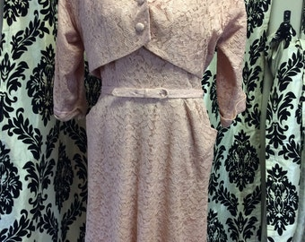 Soft 50's Pink Lace Dress, Jacket and Belt