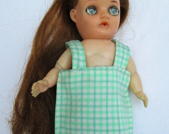 """Spring SALE 40% OFF Vintage JAPAN Rubber Doll with Blue Eyes, Handmade Doll Dress 7.5"""" Doll"""