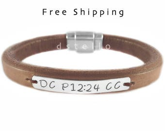 Engraved Mens bracelet, thick Spanish leather, Sterling silver tag, magnetic, birthday anniversary gift, husband, father,