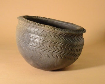 Neolithic Peterborough Impressed Ware Mortlake Pottery Bowl, Prehistoric Stone Age Archaeological Replica