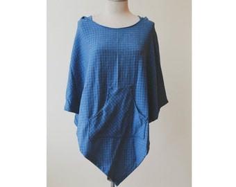 Blue Cotton Poncho Hoodie | Light Blue Poncho | Checkered Hoodie | Hooded Poncho | Casual Poncho | Hooded Cloak | Unisex Baja Hoodie Poncho