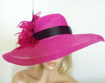Hot Pink Hat- Kentucky Derby Hat - Garden Party Hat or Victorian Tea Party Hat