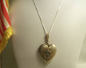 "Rare Women's Vintage Large U.S. Navy ""USN"" Sterling Silver 925 HEART LOCKET w/ Sterling 925 Box Chain Necklace- Gift Her Mom Mother Teen"