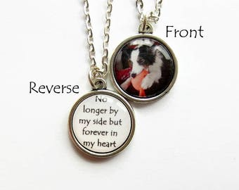 Double Sided Custom Photo Necklace, Pet Memorial Necklace, Personalised Jewelry, Keepsake Gift, Pet Loss