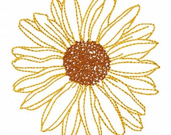 Sunflower Machine Embroidery Design - Instant Download