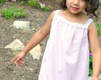 Older Tween Girls Cotton Long Summer Nightgown with Lace Straps, Pink and White Polka Dots, Size 9/10, Rose and Ruffle Original