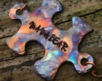 Flame Torch Painted Handstamped Mama Bear Puzzle Piece Pendant Autism