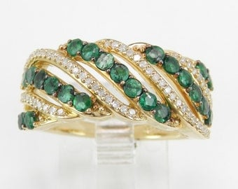 14K Yellow Gold Diamond and Emerald Anniversary Band Cluster Ring Size 7 May Gem
