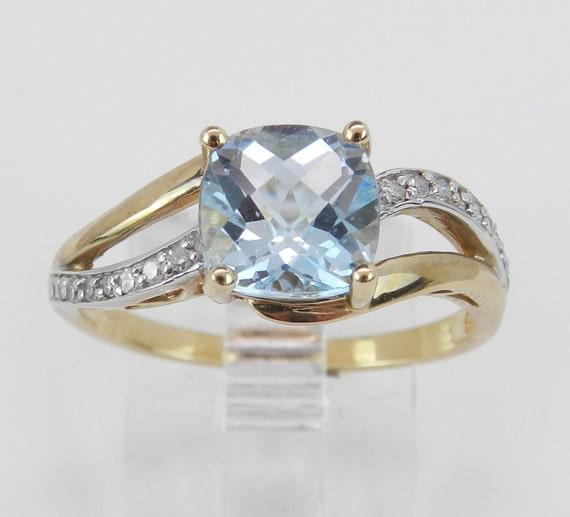 Diamond and Aquamarine Engagement Ring Yellow Gold Aqua Size 7 Cushion Cut March Gem