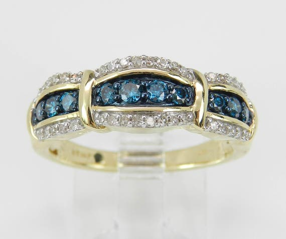 Fancy Blue and White Diamond Wedding Ring Anniversary Band Yellow Gold Size 7
