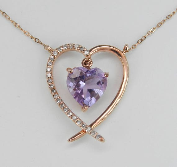 """Diamond and Heart Amethyst Dangle Pendant Necklace 16"""" Chain Rose Gold February Birthstone"""
