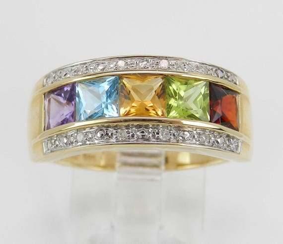 Diamond and Multi Color Princess Cut Gemstone Wedding Ring Anniversary Band 14K Yellow Gold Size 8