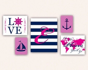Nautical Monogram Nursery Print Set - Navy & Hot Pink Anchor Sail Boat Love World Map, Oh the Places You'll Go on Chevrons, Stripes (5002)