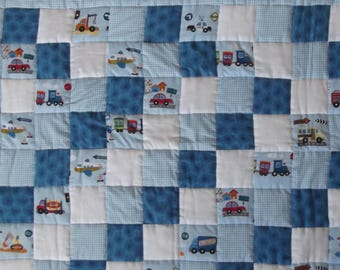 Babies Quilted Patchwork Play Matt, Cot Quilt, Cars, Trucks, Boats and Planes, Blue For A Boy