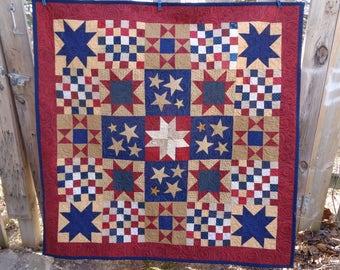 Star Quilt- Patriotic Quilt, Large Quilt, TV Quilt 0322-01