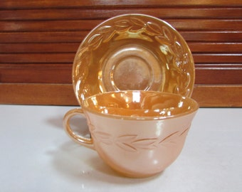 Peach Luster Fire King Teacup and Saucers Set of 6