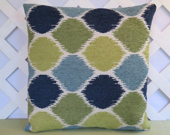 Geometric Pillow Cover in Blue Green Navy Ivory / Blue Green Pillow / Accent Pillow / Decorative Pillow / 18 x 18 Pillow