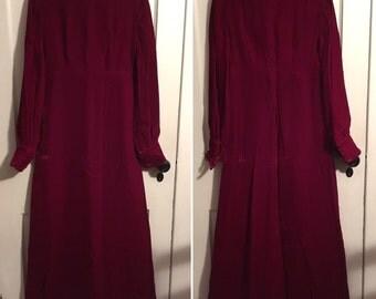Vintage 70s Dress Velvet Maxi Dress Handmade Red 70s