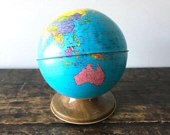 Vintage Tin Globe Bank, Ohio Art Company World Globe Bank