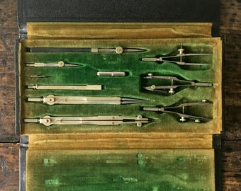 Vintage 10 Piece Dietzgen Drafting Tools In Lether Case