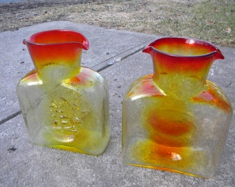 2 nice vintage 1970s KANAWHA amberina glass double spout WATER PITCHER jug embossed ship