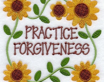Practice Forgiveness Embroidered on Kona Cotton Quilt Block // Plain Weave Cotton Dish Towel // Also Available on Other Items