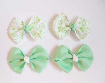 Mint Green Mini Hair Bows - Spring Vines One Size Nylon Headbands - Small Pig Tail Bow Set Grosgrain Hair Clips