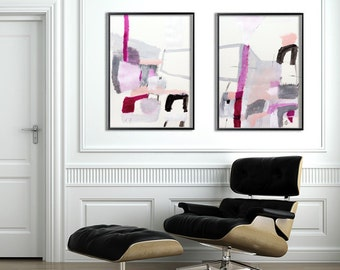 Large Abstract Painting ORIGINAL Art Grey and Pink Decor Large Wall Art Mid Century Modern Art by Duealberi