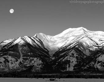 Moon Photograph, Winter Landscape, Grand Tetons Photo, Rustic Wall Art, Black and White Photography, Western Decor, Mountain Photography