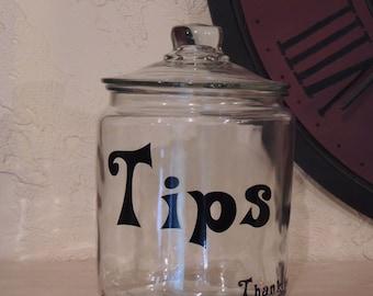Tips jar custom, personalized glass canister jar, glass tips jar, jar for tips