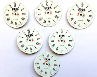 Assorted 1928 Watch Faces, Designer Watch Faces, Red Floral Pattern, Steampunk, Vintage Jewelry Supplies, B'sue Boutiques,  33mm, Item0667