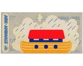Rare Vintage 80's CARDESIGN Stickers ~ ARK ANIMALS Noah's ark Ship Boat Bird Dove